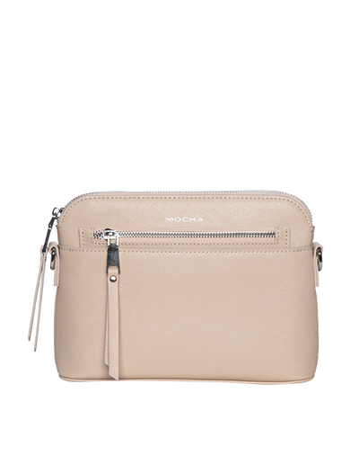 Mocha Joan Zip Clutch Leather Crossbody Bag - Nude - Mocha