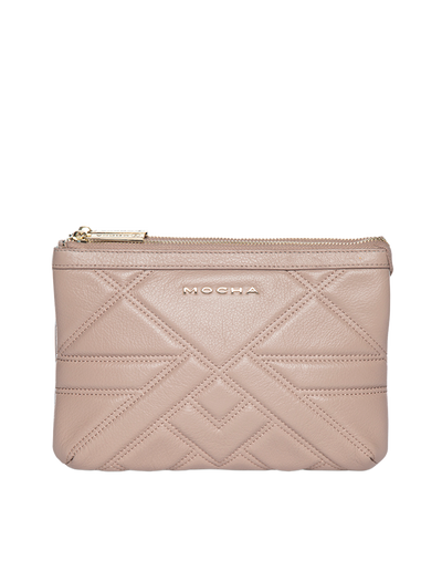 Mocha Aztec Double Leather Crossbody Bag - Taupe