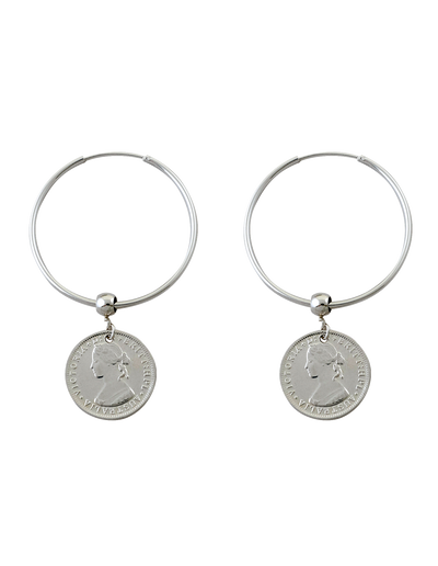Von Treskow Hoop Earrings w/ Australian Token Coin - Silver - Mocha