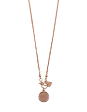 Von Treskow Double Box Chain Necklace w/ Sixpence - Rose Gold - Mocha