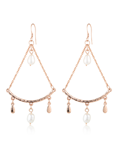 Elly Lou Palm Spring Sunset Earrings - Rose Gold/Pearl - Mocha