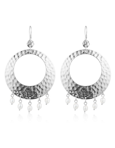 Elly Lou Palm Spring Hammered Round Earrings - Silver/Pearl - Mocha