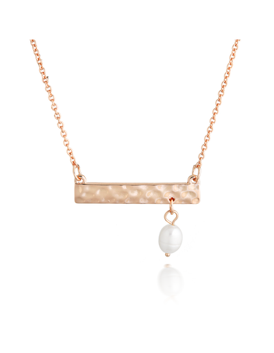 Elly Lou Palm Spring Hammered Bar Necklace - Rose Gold/Pearl - Mocha