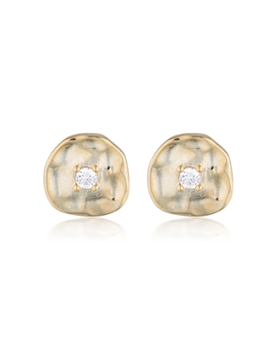 Elly Lou Cleo Stud Earrings - Gold/Cubic Zirconia - Mocha