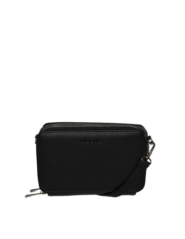 Mocha Double Zip Clutch Crossbody Bag - Black - Mocha