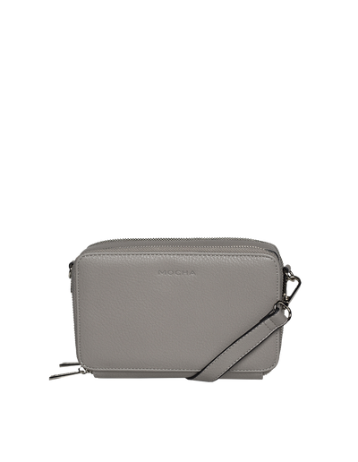 Mocha Double Zip Clutch Crossbody Bag - Grey - Mocha
