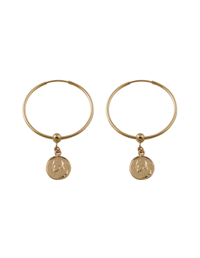 Von Treskow Hoop Earrings w/ Religious Charm - Gold - Mocha