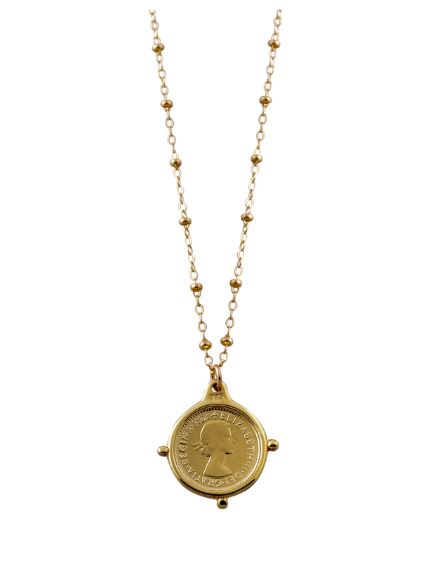 Von Treskow Rosario Necklace w/ Threepence - Gold - Mocha