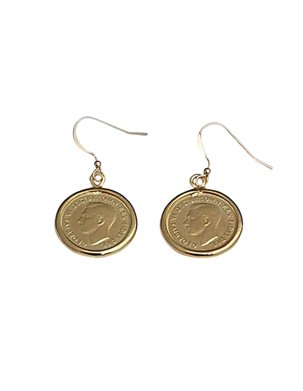 Von Treskow Hook Earrings w/ Sixpence - Gold - Mocha
