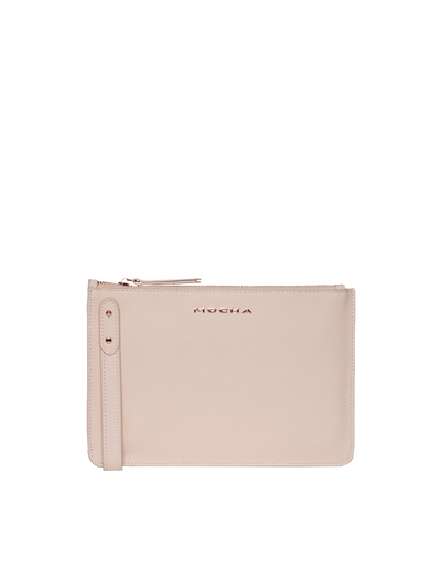Mocha Cara Leather Clutch - Blush - Mocha
