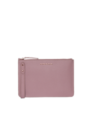 Mocha Cara Leather Clutch - Rose - Mocha