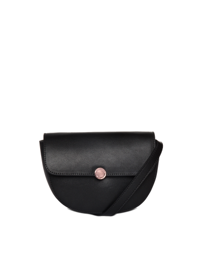 Mocha Brianna Leather Belt Bag - Black - Mocha