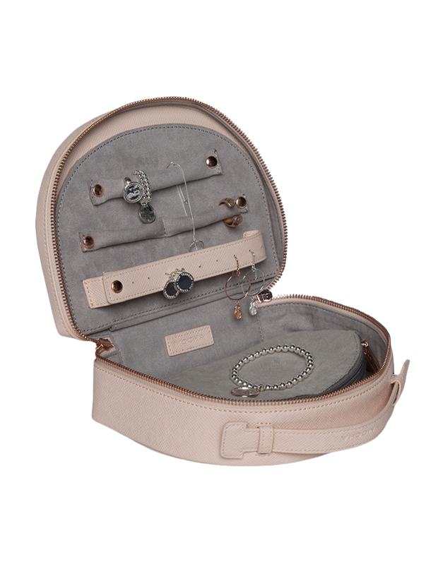 Mocha Large Kaia Jewellery Case - Blush - Mocha