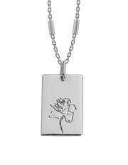 Bianko Birth Flower Necklace June (Rose) - Silver - Mocha