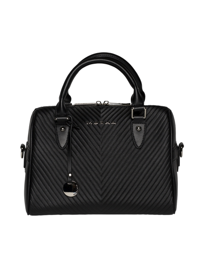 Mocha Chevron Leather Boston Bag - Black - Mocha