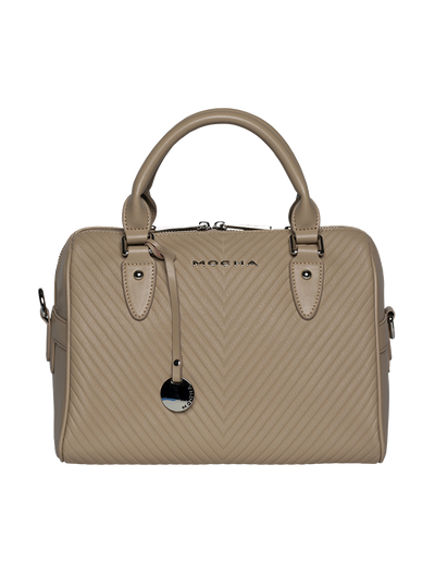 Mocha Chevron Leather Boston Bag - Taupe - Mocha