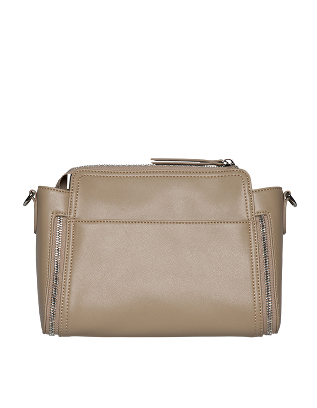 Mocha Chevron Double Zip Crossbody Bag - Taupe - Mocha