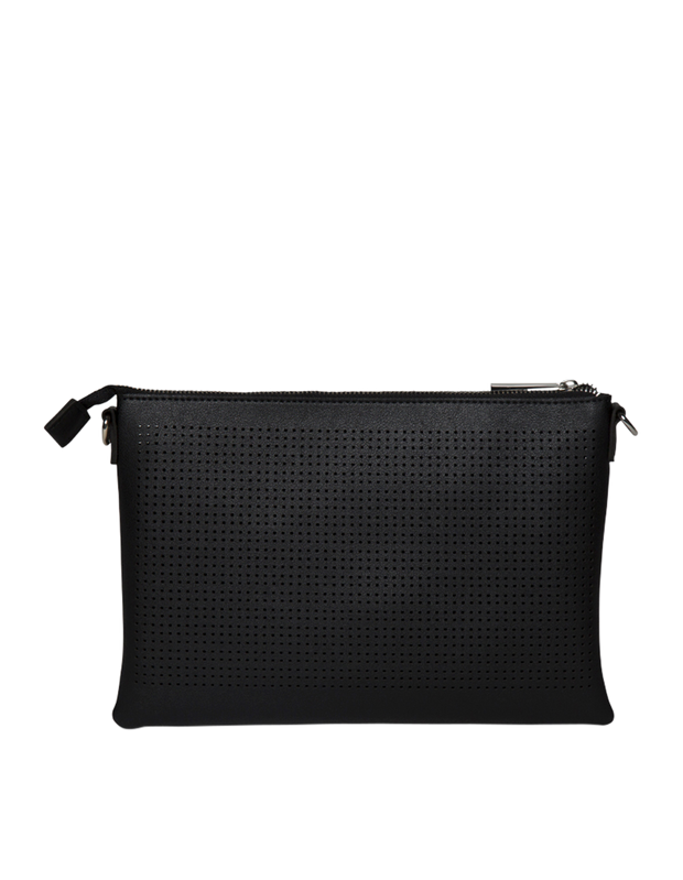 Mocha Elva Perforated Double Crossbody Bag - Black - Mocha