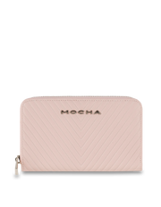 Mocha Small Chevron Leather Wallet - Blush/Silver - Mocha