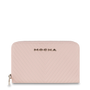 Mocha Small Chevron Leather Wallet - Blush/Silver