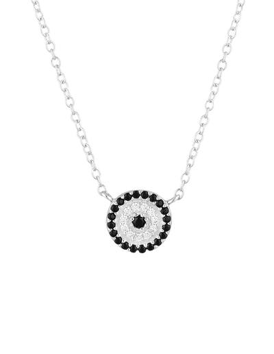 Mocha Lucky Sterling Silver Necklace w/ CZ - Silver - Mocha