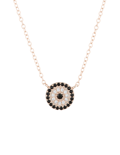 Mocha Lucky Sterling Silver Necklace w/ CZ - Rose Gold - Mocha