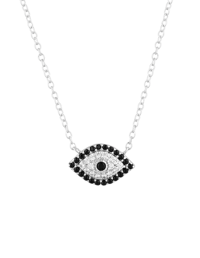 Mocha Evil Eye Sterling Silver Necklace w/ CZ - Silver - Mocha