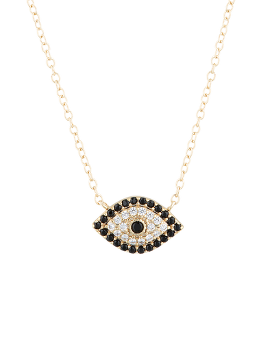 Mocha Evil Eye Sterling Silver Necklace w/ CZ - Gold - Mocha