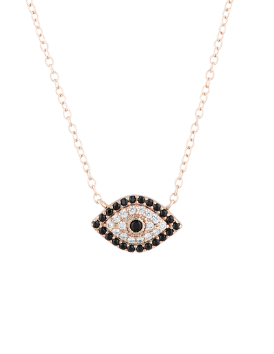 Mocha Evil Eye Sterling Silver Necklace w/ CZ - Rose Gold - Mocha