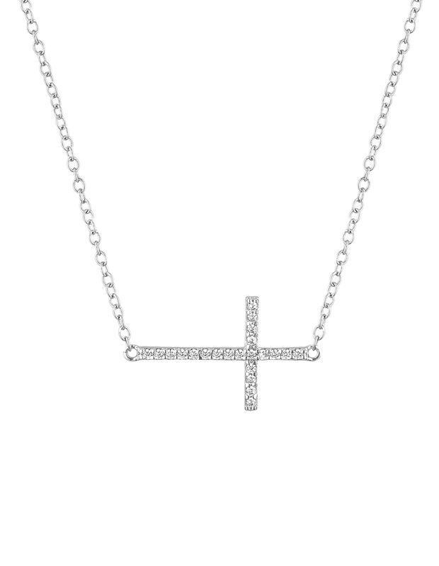 Mocha Sterling Silver Cross Necklace w/ CZ- Silver - Mocha