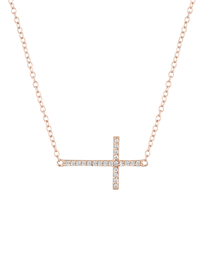 Mocha Sterling Silver Cross Necklace w/ CZ- Rose Gold - Mocha