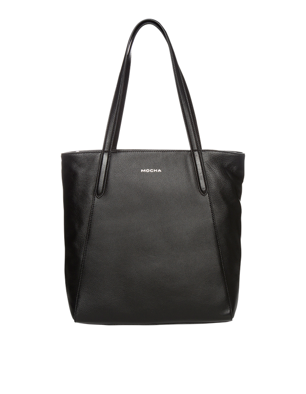 Mocha Oxford Leather Tote Bag - Black - Mocha