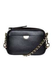 Mocha Premium Chain Leather Crossbody Bag - Black - Mocha