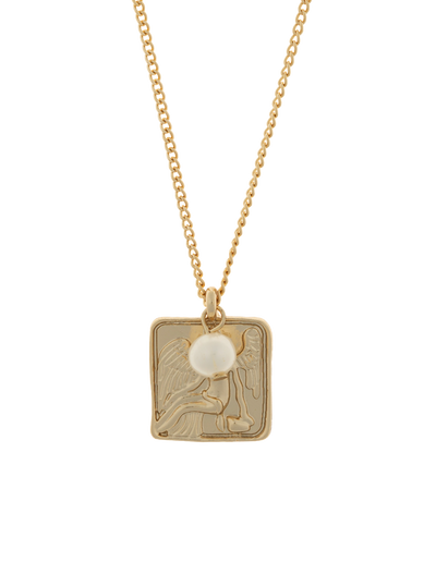 Mocha Lisa Square Coin Necklace - Light Gold - Mocha