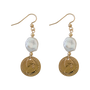 Von Treskow Token Earrings w/ Small Keshi Pearl - Gold