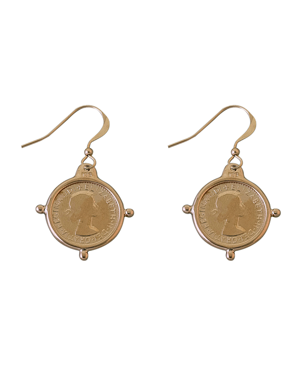 Von Treskow Hook Earrings w/ Compass Frame Threepence - Gold - Mocha