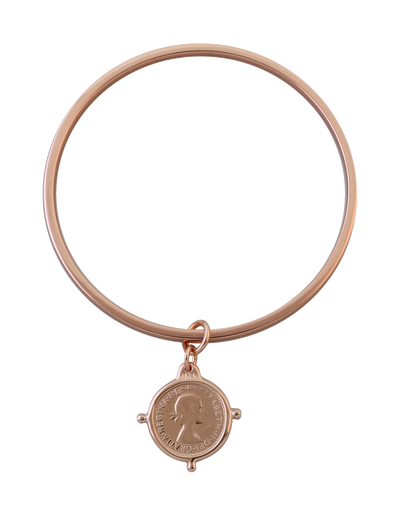 Von Treskow Flat Edge Bangle w/ Threepence - Rose Gold - Mocha