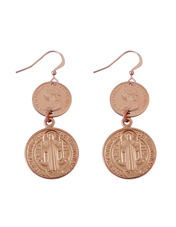 Von Treskow Hook Earrings w/ Threepence & St. Benedict - Rose Gold - Mocha