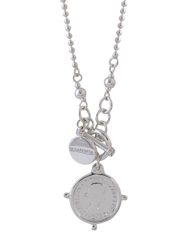 Von Treskow Fine Ball Chain Necklace w/ VT Plate & Threepence - Silver - Mocha