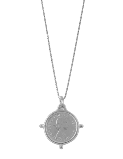 Von Treskow Fine Box Chain Necklace w/ Compass Frame Threepence - Silver - Mocha