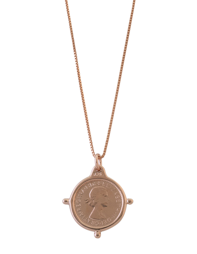 Von Treskow Box Chain Necklace w/ Compass Frame Threepence - Rose Gold - Mocha