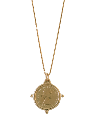 Von Treskow Fine Box Chain Necklace w/ Compass Frame Threepence - Gold - Mocha