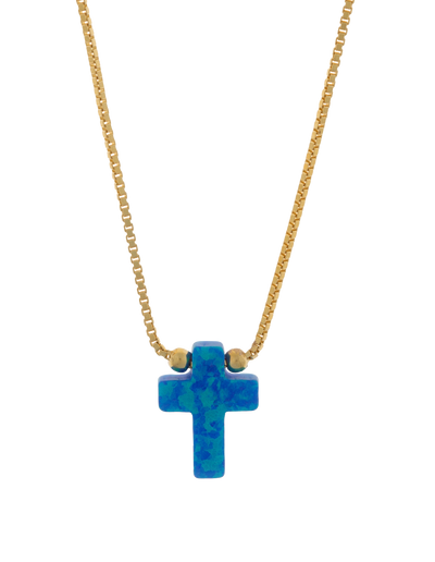 Mocha Sterling Silver Mini Cross Gold Fine Necklace - Blue - Mocha