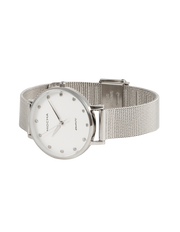 Mocha 32mm Watch w/ Cubic Zirconia - White/Silver Mesh - Mocha