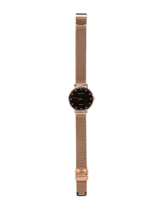 Mocha 32mm Watch w/ Cubic Zirconia -Black/Rose Gold Mesh - Mocha