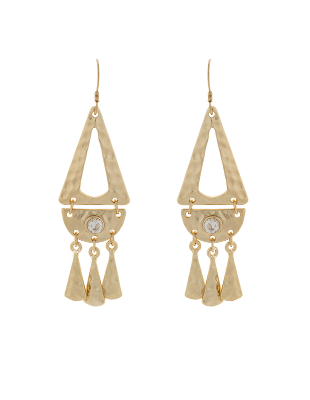 Elly Lou Faithful Earrings w/ Cubic Zirconia - Light Gold - Mocha