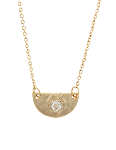 Elly Lou Faith Necklace w/ Cubic Zirconia - Light Gold - Mocha