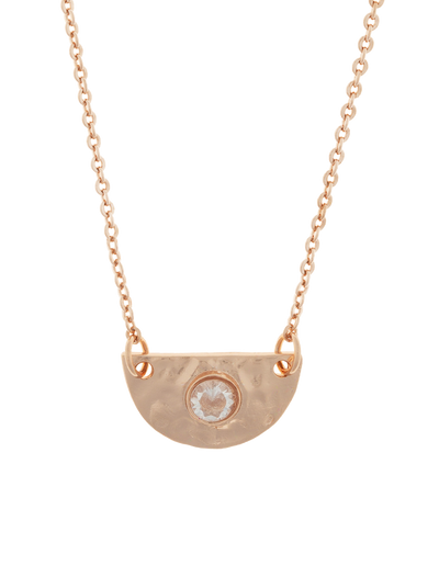 Elly Lou Faith Necklace w/ Cubic Zirconia - Rose Gold - Mocha