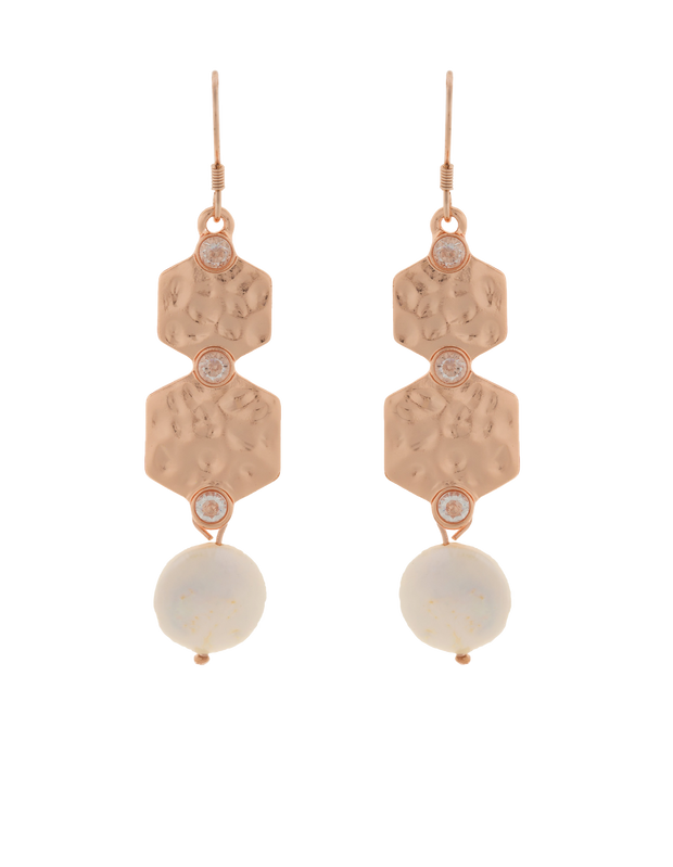 Elly Lou Strength Pearl Drop Earrings w/ Cubic Zirconia - Rose Gold - Mocha