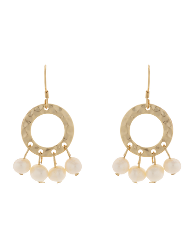 Elly Lou Ring Of Life Earrings - Pearl/Light Gold - Mocha